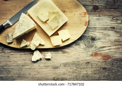 Cheese on the wooden board