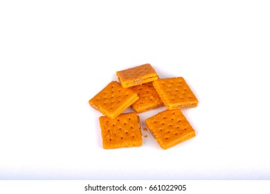 Cheese and Peanut Butter Crackers on White Background