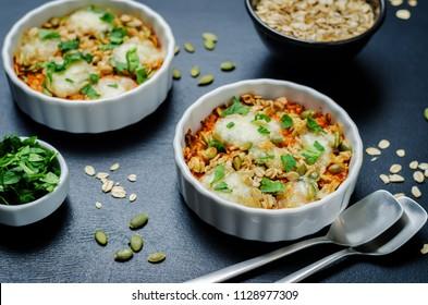 Cheese pepita oats sweet potato casserole. toning. selective focus