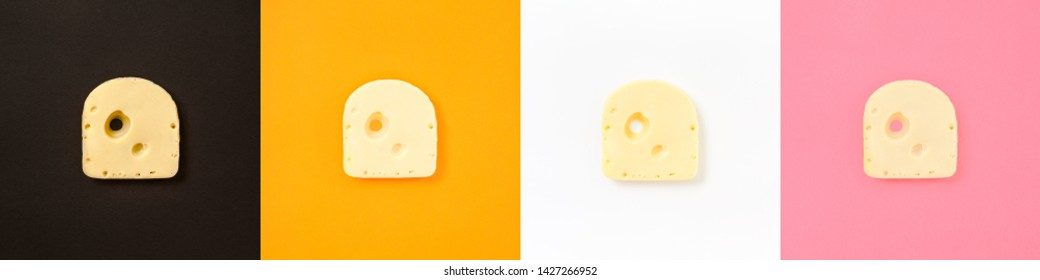 Cheese piece collage in Creative conceptual top view flat lay set of color squares with copy space isolated on bold orange, pink, black, white background in minimal style