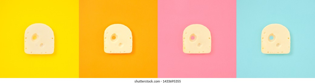 Cheese piece collage in Creative conceptual top view flat lay set of color squares with copy space isolated on bold orange, yellow, pink, blue background in minimal style