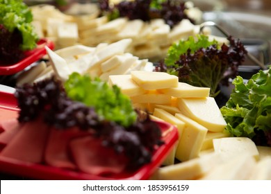 Cheese plate with assortment of different cheeses.Delicious cheese platter with various cheeses