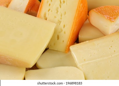 Cheese plate with Gouda, Leerdammer, Edamer, hard and Swiss cheese