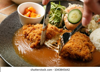cheese with pork cutlet on a dish