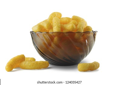 Cheese puffs in a vase on a white background