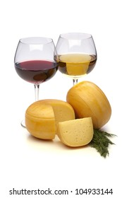 cheese with red and white wine on white background