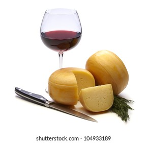 cheese with red wine on white background