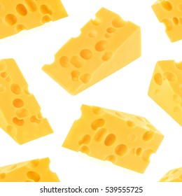 Cheese seamless pattern isolated on white background, With clipping path.