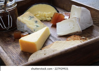 cheese selection on platter