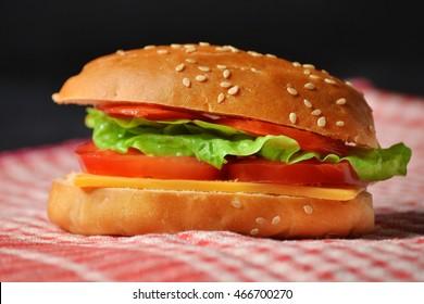 cheese sesame bun sandwich