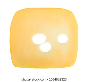 Cheese slice isolated on white background, from above
