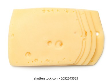 Cheese slices isolated on white background. Edam cheese. Top view