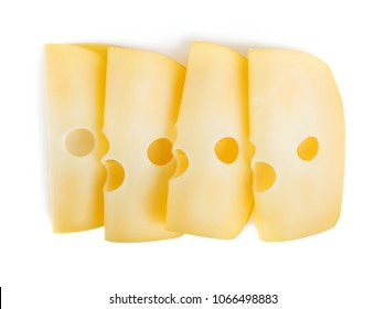 Cheese slices isolated on white background, from above