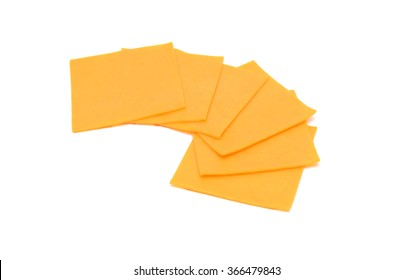 cheese slices isolated on the white background
