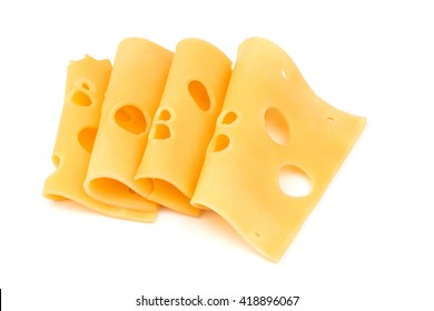cheese slices isolated on a white background