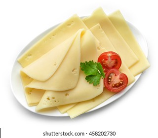cheese slices on white plate isolated on white background