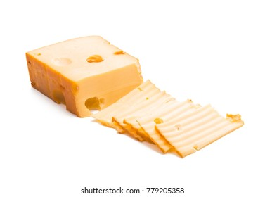 cheese smoked on white background