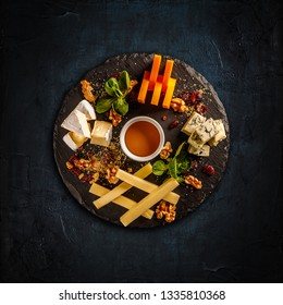 Cheese snack time, party appetizer food, cheese board, flat lay