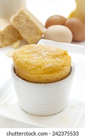 Cheese souffle with ingredients.  Eggs, milk, parmesan and gruyere.