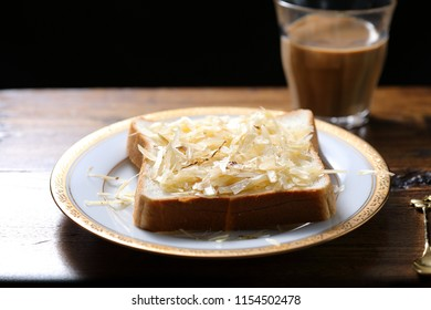 Cheese toast sprinkled with sugar