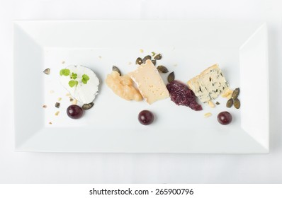 cheese variation on a white table