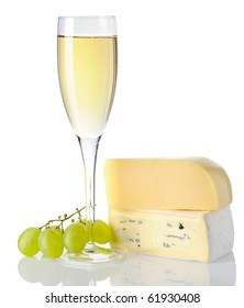 Cheese and white wine isolated on white background