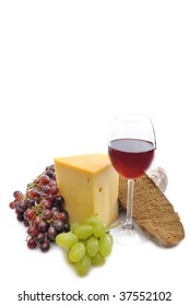 Cheese, Wine, Bread and fresh grapes