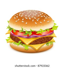 Cheeseburger, hamburger with cheese over white