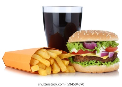 Cheeseburger hamburger and french fries menu meal combo cola drink isolated on a white background