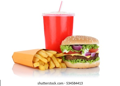 Cheeseburger hamburger and fries menu meal combo fast food drink isolated on a white background