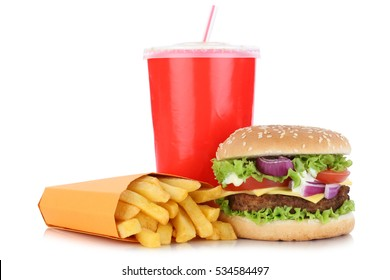 Cheeseburger hamburger and fries menu meal combo drink isolated on a white background