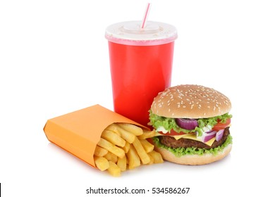 Cheeseburger hamburger and fries menu meal drink isolated on a white background