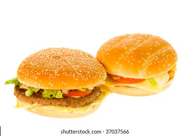 Cheeseburger and hamburger isolated on a white background
