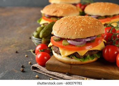 Cheeseburger on a brown background