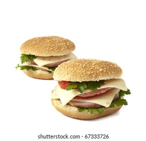 cheeseburger on a white background