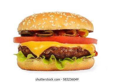 Cheeseburger - Stock image Hamburger, Burger, Cheeseburger, Food, Bun