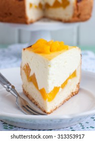Cheesecake with apricots, slice, close-up
