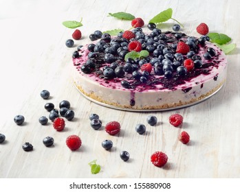 cheesecake and  berries. Selective focus