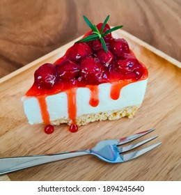 Cheesecake cherries with a festive Christmas in winter, delicious desserts.
