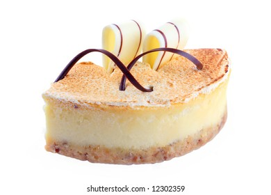 cheesecake with a chocolate tapes: milk and white