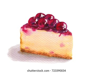 Cheesecake dessert with cherry. Watercolor isolated on white background