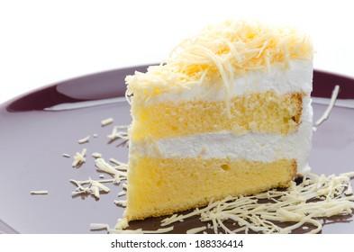Cheesecake isolated white background