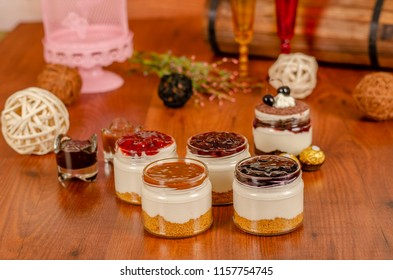 cheesecake in a jar with Caramel,Strawberry,Blueberry,Raspberry