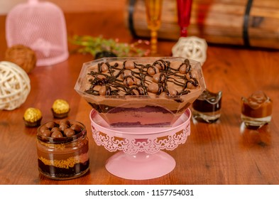 cheesecake in a jar with chocolate