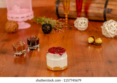 cheesecake in a jar with tropical fruits  Strawberry