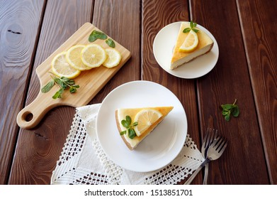cheesecake with lemon top view on the table