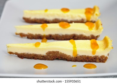 Cheesecake with mango juice