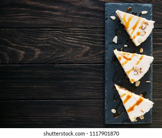cheesecake on wooden background