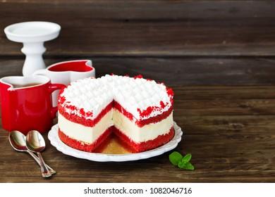 Cheesecake red velvet. Selective focus.