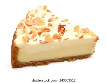 cheesecake slice on white background